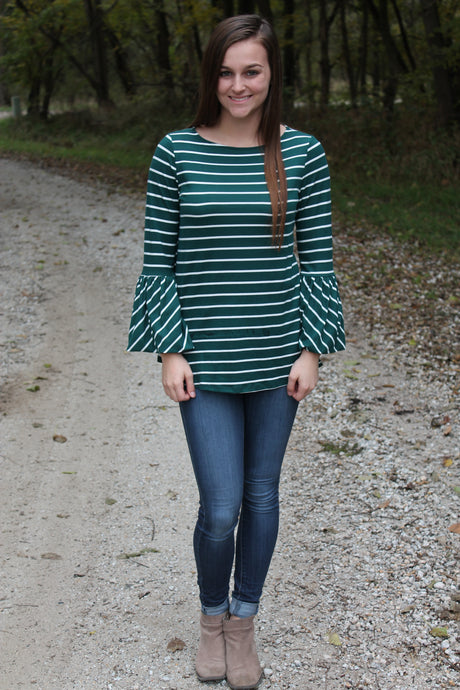 Green Striped Long Sleeve Top with Bell Sleeves