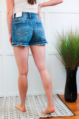 Blakley Kan Can Button Down Distressed Shorts