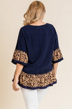 Load image into Gallery viewer, Leopard Ruffle Sleeve Top with Ruffle Frayed Hem (Navy)