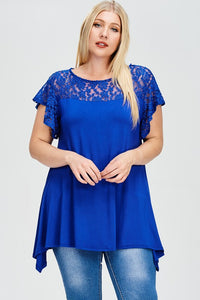 Curvy Royal Blue Detailed Lace Shirt