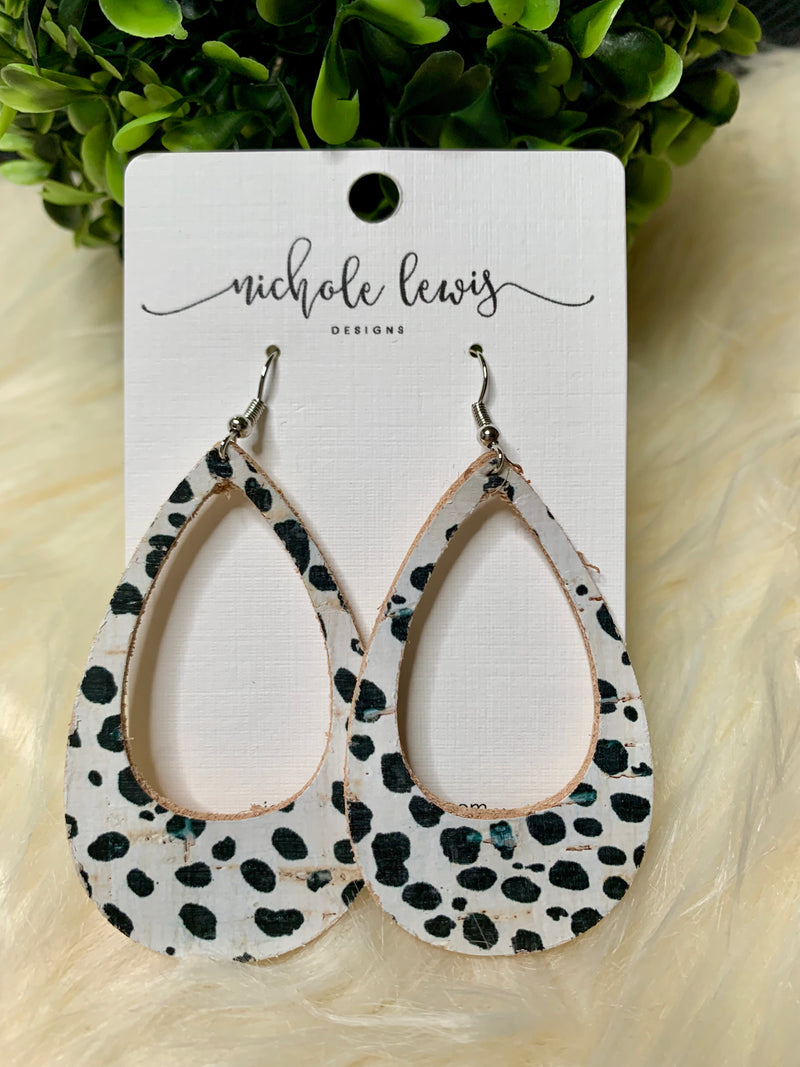 White & Black Leather Earrings