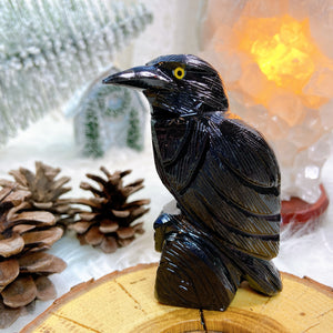 Black Onyx Crow Carving