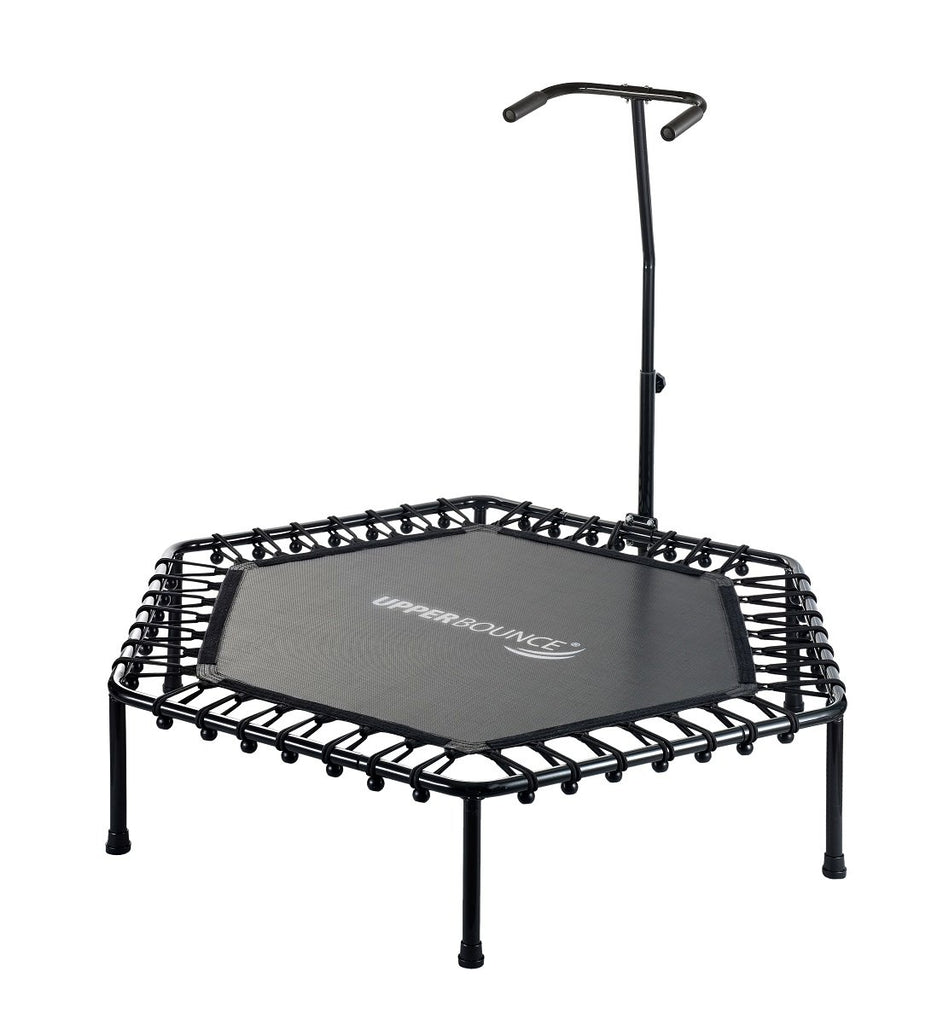 Upper Bounce 50 inch Mini Hexagonal Fitness Trampoline with Adjustable Handrail