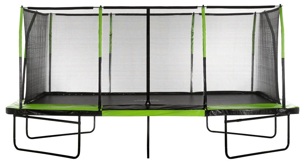 Upper Bounce - Mega 10' X 17' Gymnastics Style, Rectangular Trampoline Set with Premium Top-Ring Enclosure System - Green/Black