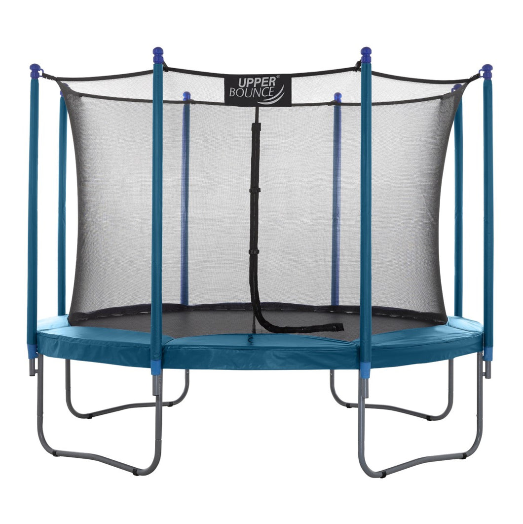 Upper Bounce  10 FT Round Trampoline Set with Safety Enclosure System - Aquamarine
