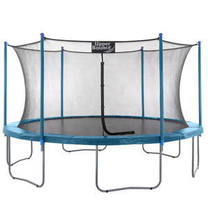 Upper Bounce  15 FT Round Trampoline Set with Safety Enclosure System - Aquamarine
