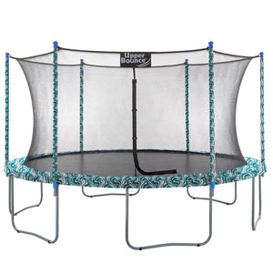 Upper Bounce  15 FT Round Trampoline Set with Safety Enclosure System - Maui Marble