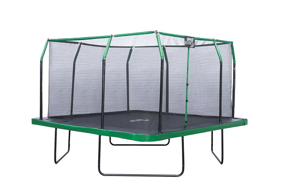 Upper Bounce 12 x 12 FT Square Trampoline Set with Premium Top-Ring Enclosure and Safety Pad – Outdoor Trampoline for Kids