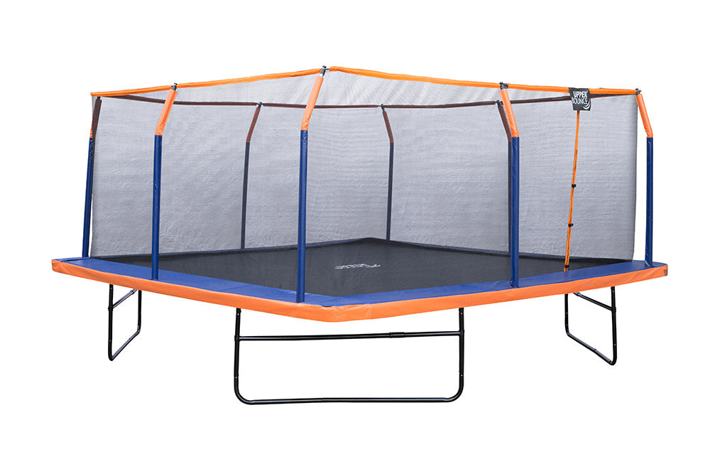 Upper Bounce 16 x 16 FT Square Trampoline Set with Premium Top-Ring Enclosure and Safety Pad – Outdoor Trampoline for Kids