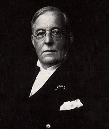 Black and white image of Mr James