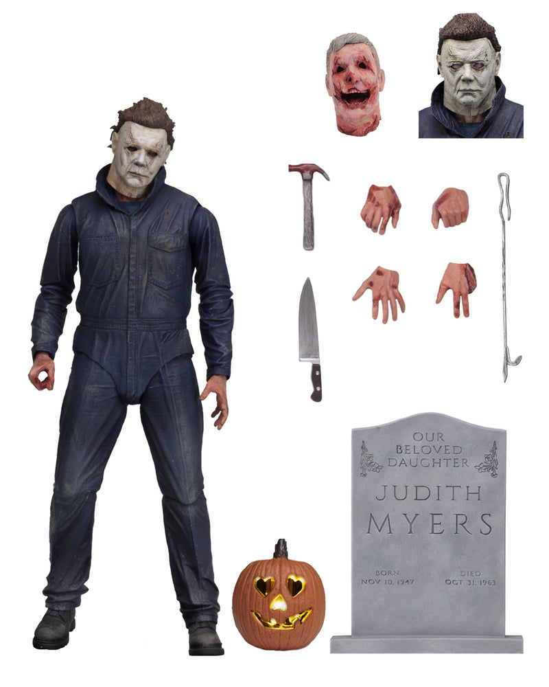 "This is a Halloween 2018 Michael Myers NECA 7"" ultimate action figure with 4 hands, extra head, tombstone, pumpkin, knife, hammer and severed head."