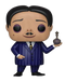 This is a Pop Vinyl Funko of Gomez, who is wearing a blue pin striped suit and has brown parted hair, from the 2019 animated movie Addams Family
