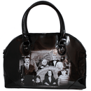 This is a Addams Family handbag that is a black purse, that has a black and white photo of Morticia, Gomez, Wednesday, Pugsley and Lurch.