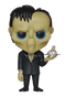 This is a Pop Vinyl Funko of Lurch, who is wearing a suit and carrying Thing on a silver platter, from the 2019 animated movie The Addams Family.