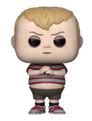 This is a Pop Vinyl Funko of Pugsley, who is wearing red tennis shoes, brown shorts and a striped shirt with blonde hair, from the 2019 animated movie Addams Family.