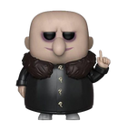 This is a Pop Vinyl Funko of Uncle Fester, who is bald and wearing a brown coat, from the 2019 animated movie Addams Family.
