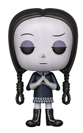 This is a Pop Vinyl Funko of Wednesday wearing a black dress, black boots and wearing black braids with a noose, from the Addams Family 2019 animated movie.