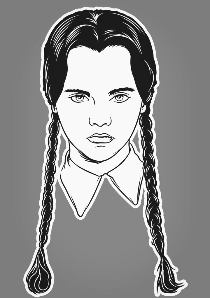 This is an Addams Family Wednesday sticker and she has black braids and a white collar.