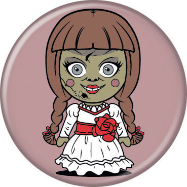 This is a chibi button of Annabelle, who is wearing a white dress with a red bow and her hair has brown braids.