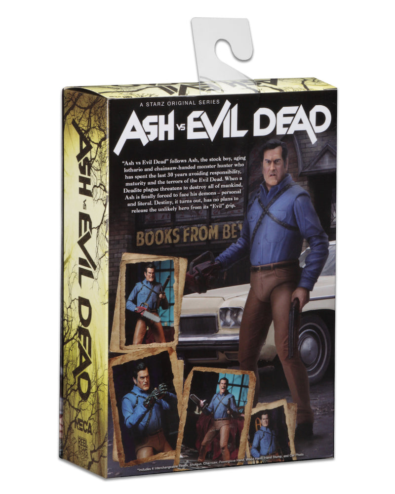 "This is an Ash vs Evil Dead 7"" Intimate NECA action figure back of box."