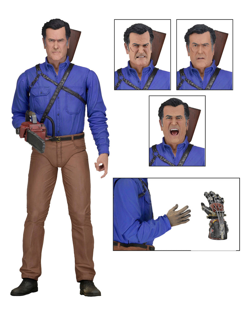 "This is an Ash vs Evil Dead 7"" Intimate NECA action figure with 3 heads, hand, chainsaw and shotgun."