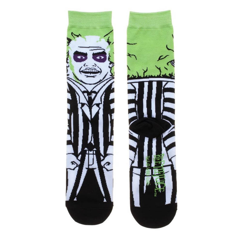 These are Beetlejuice crew socks and he has green hair and a black and white suit, printed on the front and back of the socks.