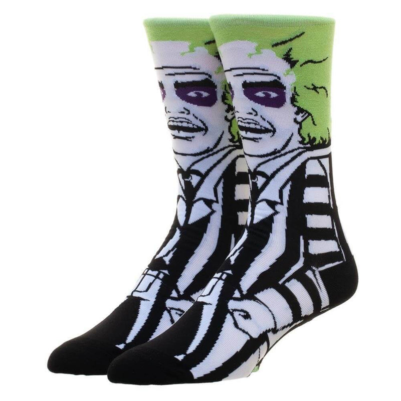 These are Beetlejuice crew socks and he has green hair and a black and white suit, printed on the socks.