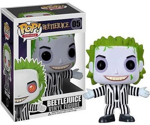 This is a Beetlejuice Funko Pop 05 and he has a black and white striped suit, green hair, black shoes, black eyes and a black tie.