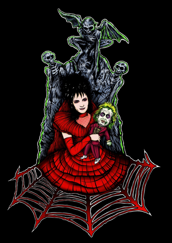This is a Beetlejuice Lydia Deetz sticker and she is wearing a red dress and holding a small Beetlejuice and is in front of a tombstone.