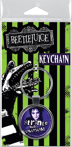 This is a Beetlejuice Lydia strange and unusual keychain and it is purple with Lydia's face.