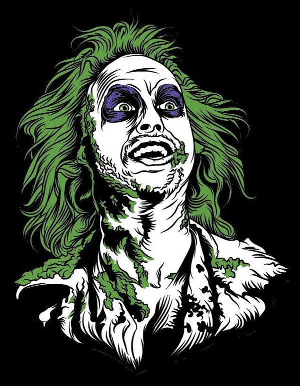 This is a Beetlejuice head sticker and he has green hair, purple eyes and he has green on his face.