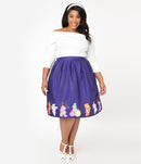 This is a Care Bears halloween purple Jayne swing skirt by Unique Vintage and the plus model is wearing a white shirt, white headband and has on white shoes.