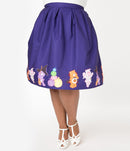 This is a Care Bears halloween purple Jayne swing skirt by Unique Vintage, with pumpkins, witch hats and brooms and the plus model has on white shoes.