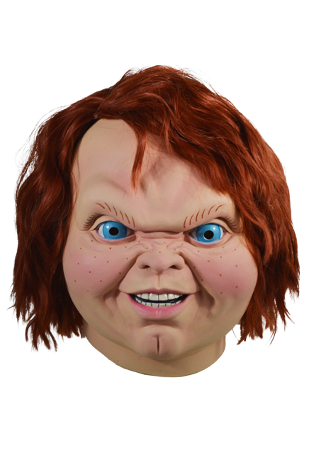 This mask is of Chucky from Child's Play 2 and he has bright blue eyes, orange hair and a butt chin.