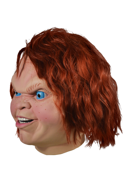 This mask is of Chucky from Child's Play 2 and he has bright blue eyes, long orange hair and a butt chin.