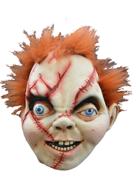 Chucky from Bride Of Chucky with orange hair and scars all over his face, hanging on a wall as house decor.