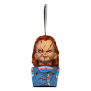 This is a Bride of Chucky ornament and he has orange hair, a striped shirt, blue overalls and stitches on his face.