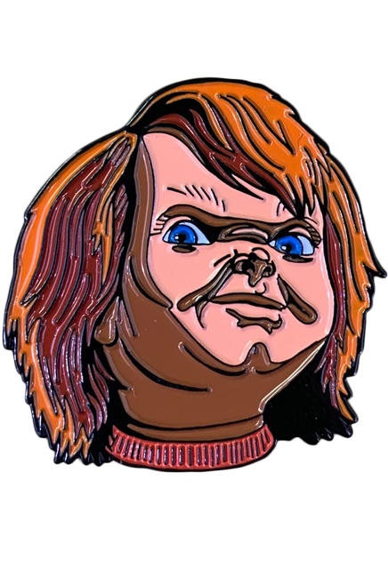 This enamel pin is of Chucky from the movie Child's Play and it is his evil good guys face and orange hair.