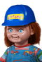 This is a Good Guys Chucky Helmet from Child's Play 2 and is blue with a yellow sticker that says good guys and is on top of his head.