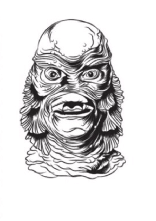 This is a Black and white Universal Monsters Creature From the Black Lagoon sticker and he has gills and scales.