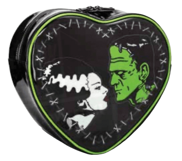 This is a Universal Monsters Bride of Frankenstein heart purse and backpack that is black with white stitches, green piping and has a woman with black hair with a white streak and a green man with stitches and black hair.