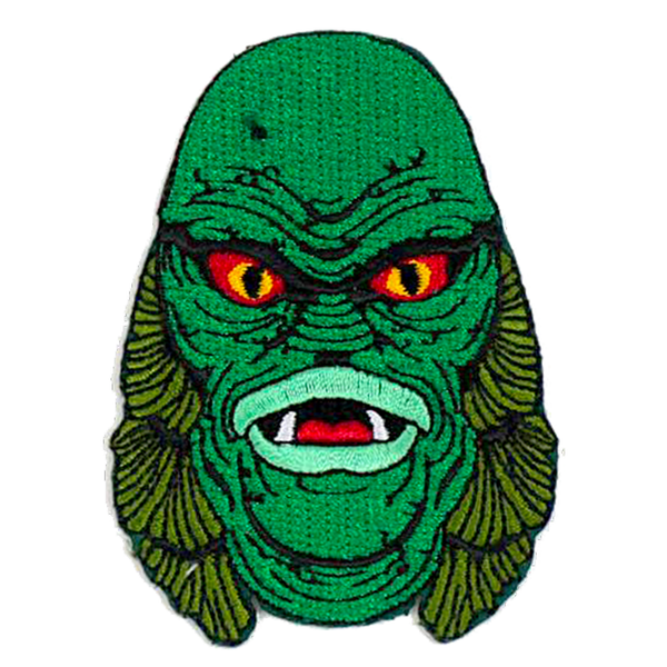 This is a Universal Monsters Creature From the Black Lagoon patch and he has a green face, yellow eyes and gills on the side of his head.