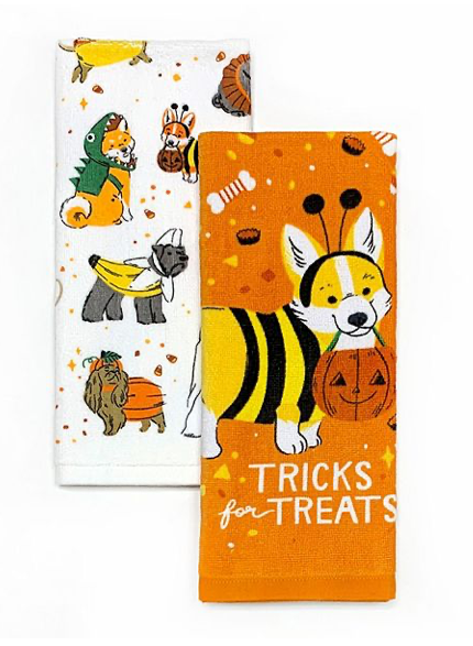 This is a set of 2 kitchen towels and one is orange and has a corgi in a bee costume and the other is white with banana, pumpkin, ballerina and dinosaur costumes on them.