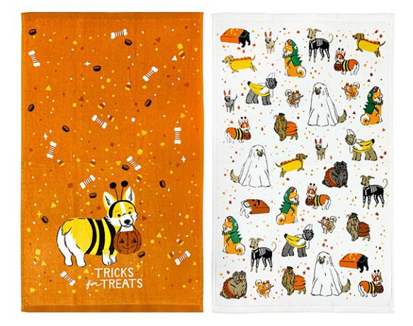 This is a set of 2 kitchen towels and that have dogs in been ghost hot dog, skeleton, dinosaur and pumpkin costumes on them.