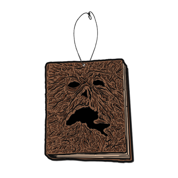 This is an Evil Dead 2 Necronomicon Book of the Dead air freshener by Trick Or Treat and it is a brown book, with a scary face and a plastic hanger.