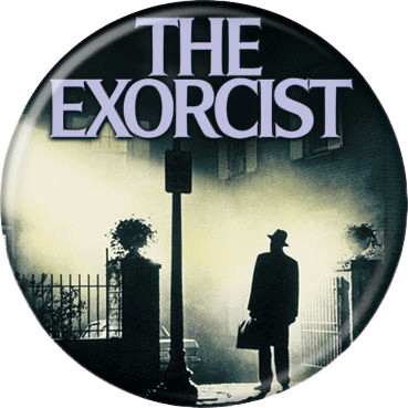 This is an Exorcist movie poster button that has a silhouette of a man with a hat and a lamp post, with an apartment building in the background.