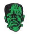 This is a Universal Monsters Frankenstein clothing patch and he is green with black stitching.