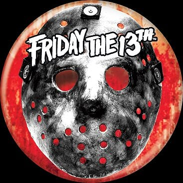 FRIDAY THE 13TH - Jason Mask and Blood Button-Button-1-84198-Classic Horror Shop