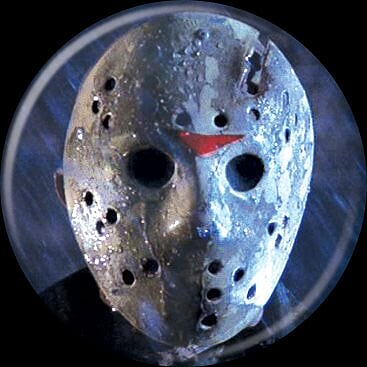 FRIDAY THE 13TH - Jason Mask On Blue Button-Button-1-84199-Classic Horror Shop