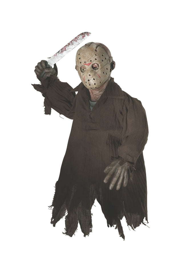 Jason Voorhees home decor is hanging from the ceiling while holding a machete and wearing a torn up brown shirt and hockey mask.